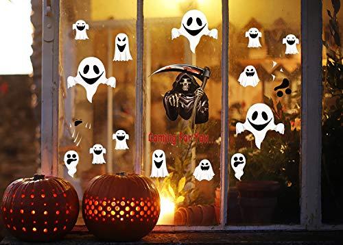 UMIPUBO Geist Halloween Elektrostatische Aufkleber Dekoration Halloween Party Dekoration Halloween Deko Sensenmann Aufkleber 4 Blatt(Halloween)