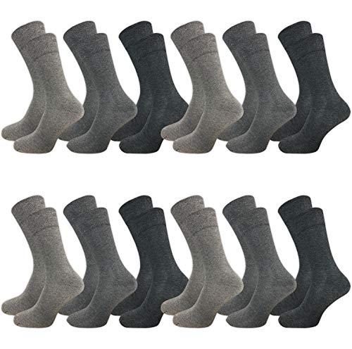 GAWILO 12 Paar Herren Socken für Business und Freizeit mit weichem Komfortbund (43-46, grau) -