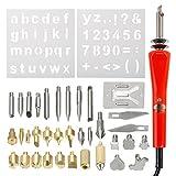 SODIAL 37 Stuecke EU-Stecker Holz Eisen Stift Holzofen Loeten Spielzeug Kit Schnitzen Praege Set fuer Holzbearbeitung Leder Kork