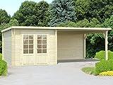Gartenhaus Pinus P12c naturbelassen - 28 mm Blockbohlenhaus, Grundfläche: 6,90 m² mit 10 m² Seitendach, Pultdach