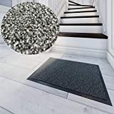 West&East Schmutzfangmatte Grau 90x150 cm Mikrofaser Fußabtreter Sauberlaufmatte Fußmatte