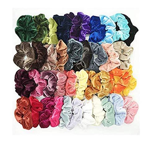 45 Stück Haargummis Mädchen,Haar Scrunchies Samt Elastische Haarbänder Halter Stirnbänder Seile Haarschleife Haarband Peeling Gummibänder Haar Scrunchies Für Damen Mädchen (40 Stück, Multicolor)