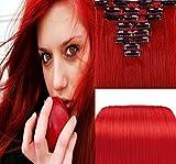 SHINING STYLE 18''(45cm) Silky Straight Clip-In-Haarverlängerung für Highlight - Hochwertiges Remy Gemacht Haar 7 Teilig 70 g Rot