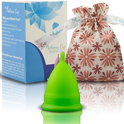 Athena Menstruationstasse - Die Nr. 1 unter den wiederverwendbaren Menstruationsbechern, inklusive Bonus-Tasche - Größe 2 in Solides Grün - Garantierter Auslaufschutz (Taschen Solide)
