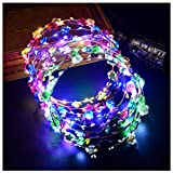 FunPa LED Flower Crown, 7Pcs Light Up Flower Wreath Headband Luminous 10 Led Flower Headdress Headpiece for Holiday Christmas Halloween Glow Party (7Pcs)