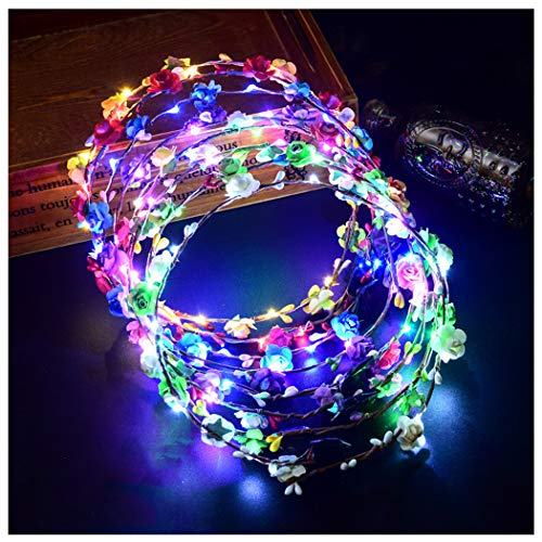 FunPa LED Flower Headband,7Pcs F...