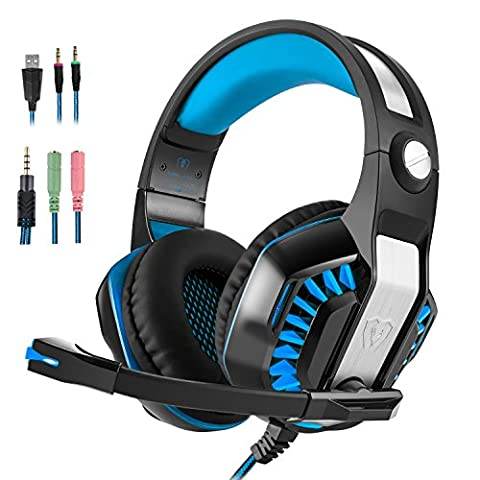 Gaming Headset, Beexcellent GM-2 Over-Ear Surround Sound Stereo Kopfhörer Audio Musick Ohrhörer mit Mikrofon und LED-Licht für PS4 PC Computer Laptop Handy Tablet iPhone iPad - Blau