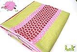 ❤️ bab Berlin ❤️ Baby Decke für Mädchen in Rosa/Grün/Rot, Kuscheldecke, Patchworkdecke, auch als Set mit Schmusetuch