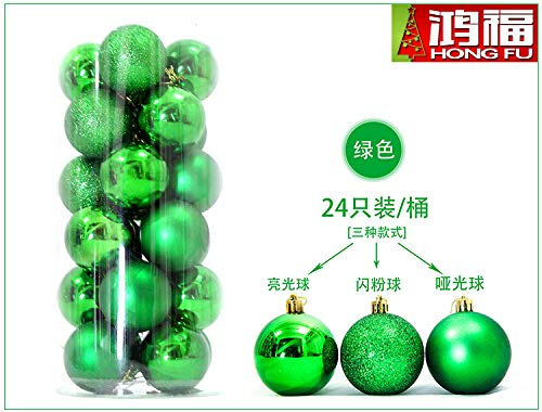 HAPPYLR Weihnachtskugeln Christbaumschmuck Weihnachtskugeln 24 Fässer Paket Licht Ball Plating Ball tief Weihnachtsdekoration Ball, 8cm grün 24 Pack - 24k Fass
