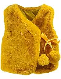 XXYsm Kleinkind Baby Mädchen Weste Mantel Winter SAMT Jacke Ärmellos mit Kleine Pompons Warme Outwear Waistcoat