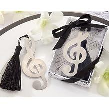 Lote de 20 Elegantes Puntos de Libro NOTA MUSICAL en caja de regalo + lazo - Marcapáginas, puntos libros detalles de bodas, Comuniones, Bautizos y cumpleaños