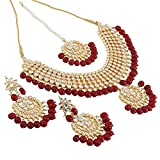 Shining Diva Fashion Gold Plated Kundan Pearl Necklace Set with Earrings for Women and Girls (Red)(9608s)