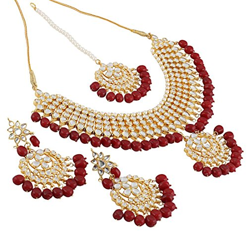 Shining Diva Fashion Jewelry Gold Plated Kundan Pearl Stylish Fancy Party Wear Wedding Necklace Set Traditional Jewellery Set with Earrings for Women & Girls (Red)