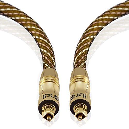 Cavo Ottico IBRA Cavo Toslink 2m Cavo Fibra Ottica Audio Digitale per PS3 PS4 SKY SKY+ SKYHD XBOX One Blu ray CD DVD Amplificatori AV Master Gold