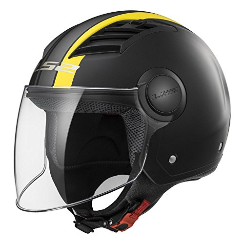 LS2 Casco Moto Of562 Airflow Metropolis, Matt Black/Yellow Long, L