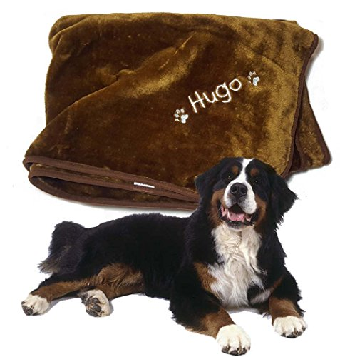 Spoilt Rotten Pets - Personalised Large 150cm x 200cm Blanket Size - Soft & Furry 'Bear Hug' Pet Dog Blanket - Any Name Embroidered No Extra Charge …