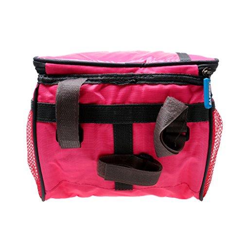 Hochwertige Fahrradtasche, Radfahren / Radsport Handytasche auf Lenker mit Touch-Screen, auch als Umhängetasche, Praktisch und Multifunktionell Roserot - Quadratisch