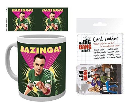 1art1 Big Bang Theory, Sheldon Bazinga Foto-Tasse Kaffeetasse (9x8 cm) Inklusive 1 Big Bang Theory EC-Kartenhülle Kartenetui Für Fans Und Sammler (10x7 cm)