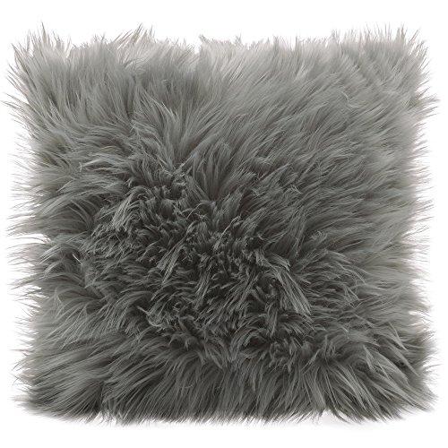 CelinaTex Cuddly Dekokissen 45 x 45 cm grau Langhaar Zierkissen dekoratives Fellimitat Nicki Sofakissen Kunstfell Kissen -