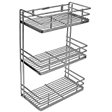 #7: Klaxon Wall Mounted Three Shelf Stainless Steel Kitchen Rack, Silver