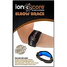 Cinta de compresión para codo, ligera y ajustable con acolchado EVA, ideal para practicar deportes como el tenis o el golf, talla única, marca Ionocore