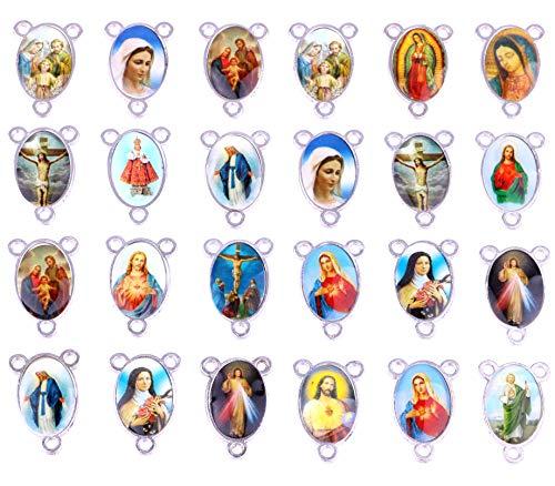 60 Stück Mix Bild Kreuz Jesus Jungfrau Maria Emaille Our Lady Wunderbare Medaille Blume Rosenkranz Tafelaufsatz Legierung Kruzifix Kreuz Anhänger Charms 23 × 15 mm