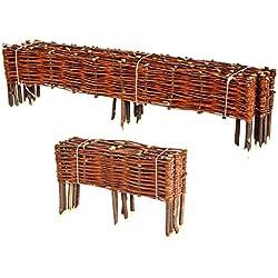 BooGardi Clôture en bois de saule pour bordure de plate-bande, de chemin Plusieurs dimensions 20 x 100 cm 10er Set naturel