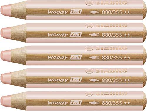 STABILO Woody 3 in 1 matitoni colorati colore Carnicino - Confezione da 5
