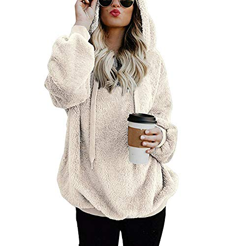 ❤️ Women Blouse Clearance, Mosstars Ladies Women Hooded Sweatshirt Coat Winter Warm Wool Zipper Pockets Cotton Coat Outwear
