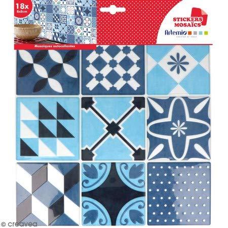 Stickers carreaux de ciment 8 cm - Bleu - 18 carreaux
