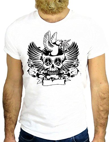 T SHIRT Z0686 TATTO NICE SKULL BIRD NICE VINAGE JERRY NICE COOL HIPSTER GGG24 BIANCA - WHITE