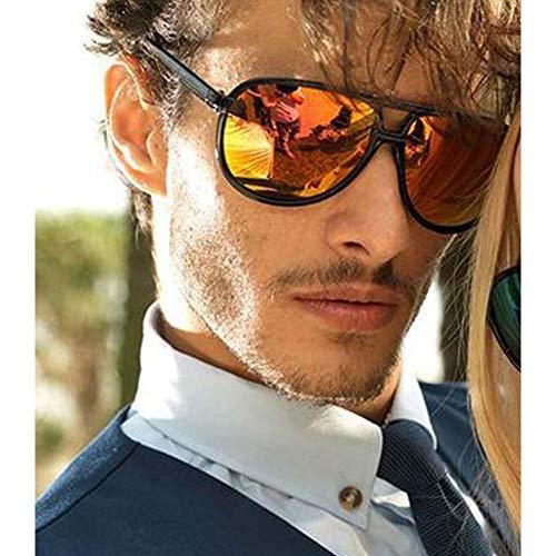 AKDSteel Herren Sonnenbrille mit großem Rahmen, 4125 gelbe Linse