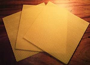 3 Pure Natural English Beeswax CANDLE SHEETS **20cm x 20cm**