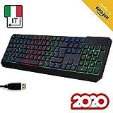 KLIM Chroma Clavier Gamers QWERTY Italie Filaire USB - Haute Performance - Éclairé chromatique Gaming Noir RGB PC Windows, Mac PS4 [ Nouvelle Version ]