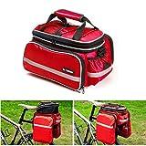 Vitalite, borsa da bicicletta per portapacchi, portatile e multifunzione, con copertura antipioggia, Red