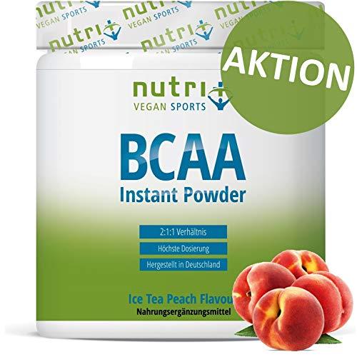 INSTANT BCAA PULVER VEGAN | Hochdosierte Aminosäuren BCAAs | L-Leucin L-Isoleucin L-Valin 2:1:1 Aminosäure | Nutri-Plus | Geschmack Pfirsich-Eistee | Ice-Tea Peach 300g - L-leucin Aminosäure