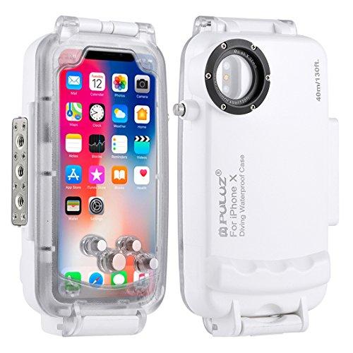 PULUZ 40 m 130 FT Professionelle Wasserdicht iPhone Tauchen Gehäuse, Unterwasser fotografieren Tauchen wasserdichte Schutzhülle für iPhone X/8/7/8PLUS/7plus,iPhone 8/7 (iPhone X, White)
