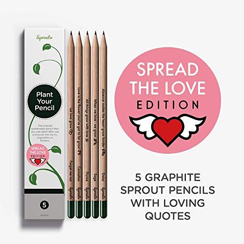 Sprout Pencils | Matite Sprout Love Edition | Scatola da 5 | Matite da disegno in grafite piantabili | In legno organico e naturale | Set da regalo con un cuore | Frasi t