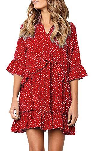 916df533282cf7 ECOWISH Damen Kleid V Ausschnitt Rüschen Punkte Sommerkleider Halbarm Mini  Strandkleider Casual Lose T-Shirt Kleid Rot L