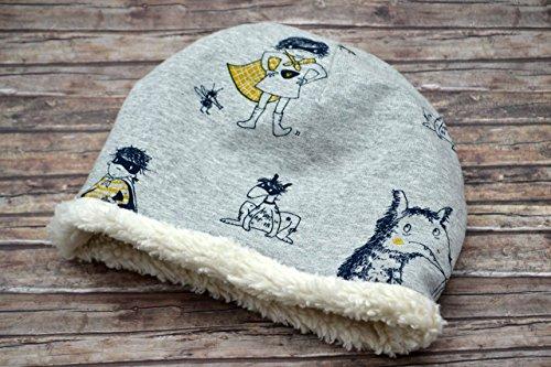 Mütze aus Bio-Baumwolle, 50 56 86 92 98 104, gefüttert, Teddy, Beanie für Babys, grau dunkelblau schwarz gelb, Vampir, Wolf Jersey, Mädchen, Junge