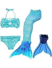 Meerjungfrauenschwanz Zum Schwimmen Mädchen Cosplay Prinzessin Kostüm Bikini Badeanzug für Kinder