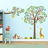 Decowall DML-1502P1512 Large Scroll Tree and Branches with Animals Kids Wall Stickers Wall Decals Peel and Stick Removable Wall Stickers for Kids Nursery Bedroom Living Room