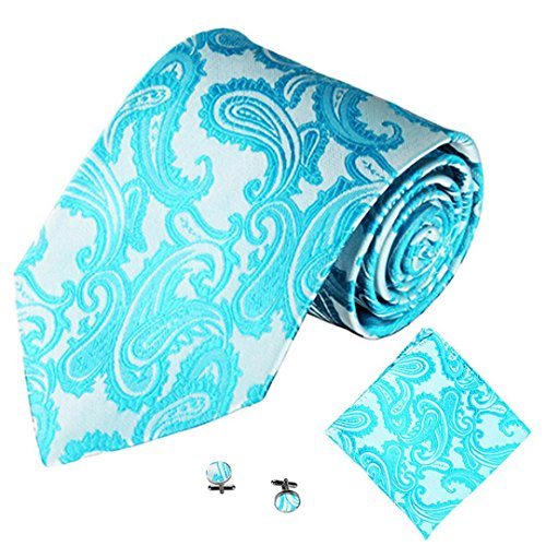Kette, Seide Krawatte (SOMESUN Gewebtem Jacquard Herren Krawatten Taschentuch Manschettenknopf 3PCS Paisley Cashew Taschen (blau #3))