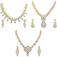 Sukkhi Glimmery Gold Plated Wedding Jewellery Set of 3 Necklace Combo for Women (262CB2010)