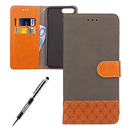 iPhone 7 Plus Custodia, iPhone 7 Plus Custodia Portafoglio, iPhone 7 Plus Cover Pelle, JAWSEU Lusso Denim Pelle Patchwork Flip Cover Custodia per iPhone 7 Plus Cover Copertura con Morbida Gel Silicone Denim Grigio