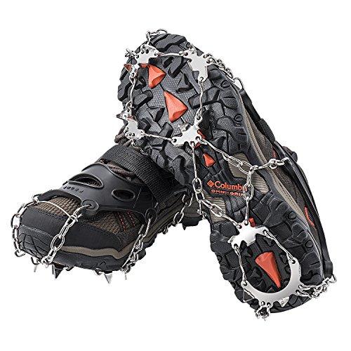 AUHIKE Crampones 18 de Dientes y Garras l Cubierta Antideslizante de Zapatos para Nieve y Hielo, con Cadena de Acero Inoxidable