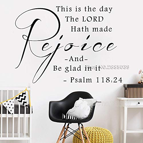 fenshop Dies ist der Tag Psalm 118: 24 Vinyl Wandtattoos Christian Inspirational Quotes Home Decor Wandaufkleber 58x42cm - Wand-aufkleber Quotes Inspirational