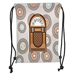 Fevthmii Drawstring Backpacks, Jukebox, Pick Up Music with Vintage Abstract Long Players Backdrop, Brown Light Coffee Grey and Peach Soft Satin, 5 l, Adjustable String Closure