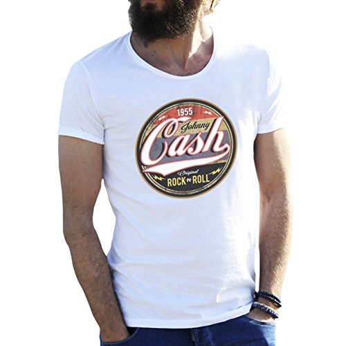 Johnny Cash Rock N Roll Weiße Herren T-Shirt X Large (Ärmel Johnny-kragen-shirt)