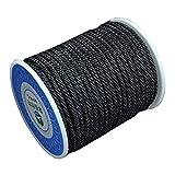 DIY925 Nylonband geflochten 16.5m Kordel 3mm schwarz Premium Qualität für die Schmuckherstellung